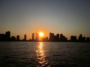 Sun goes down in Jersey City